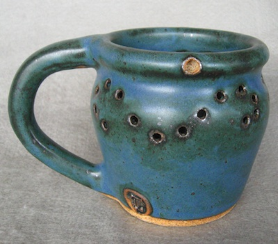 puzzle mug in reitz green handmade pottery